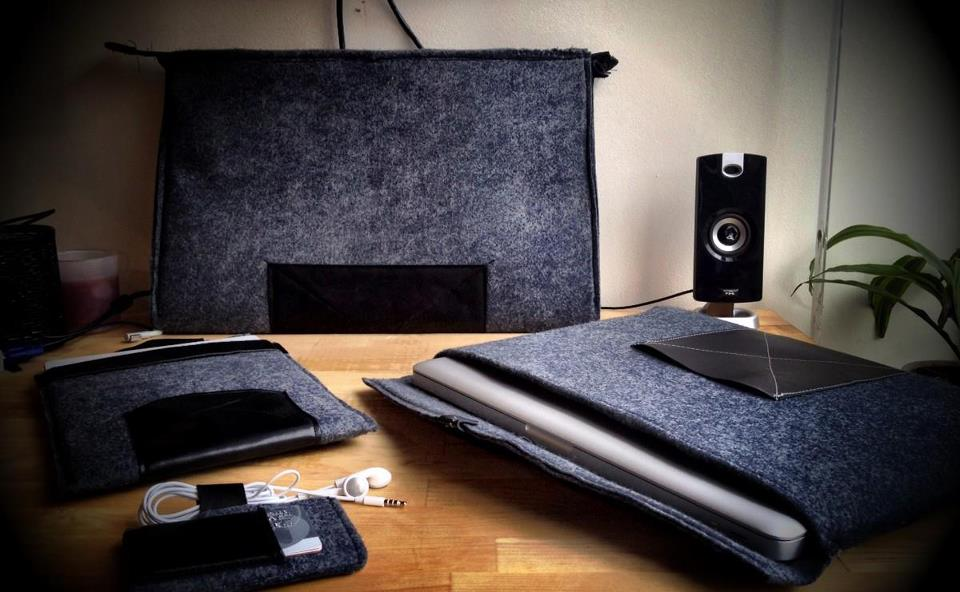 leather and wool felt ipad, iphone, laptop, and folio